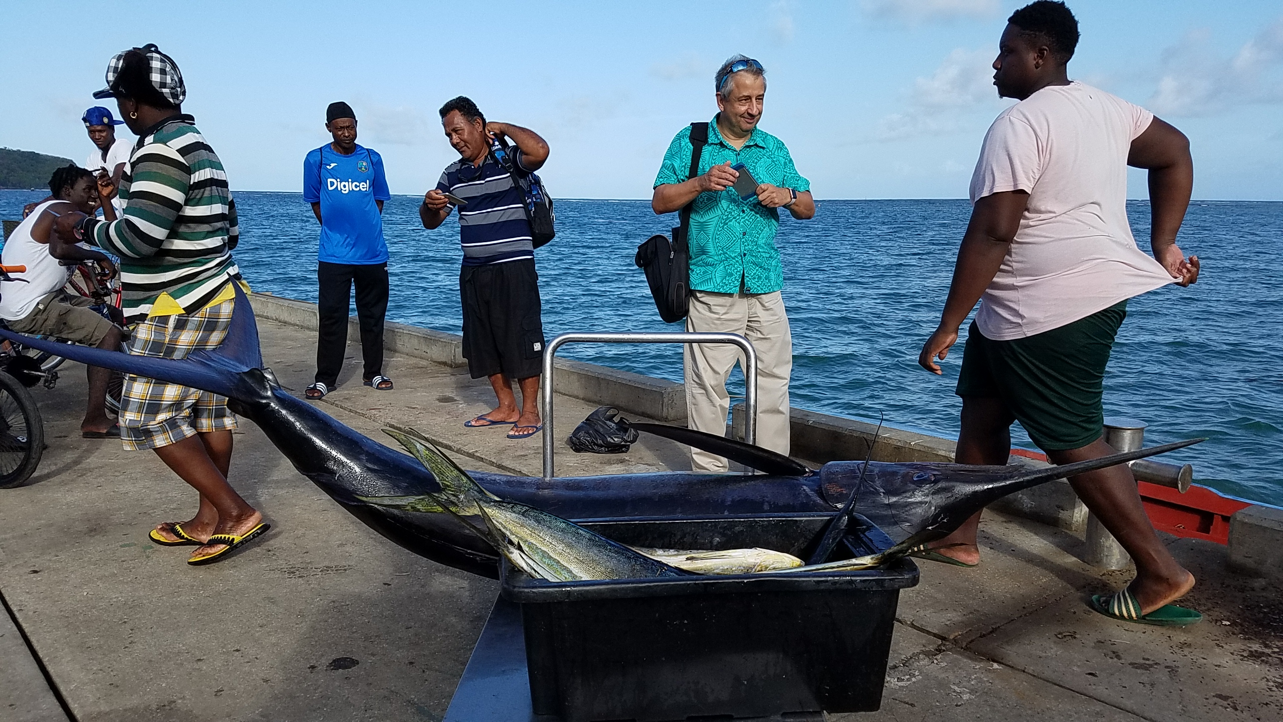 Yellow Fin Tunas were caught around the FADs during the Grenada leg of the study tour