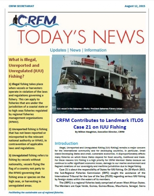 Today's News: CRFM Contributes to Landmark ITLOS Case 21 on IUU Fishing