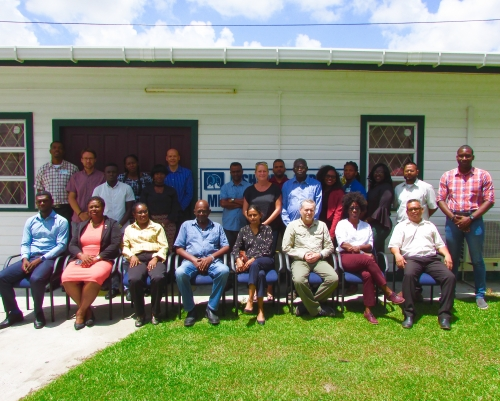 Participants of the CRFM CSWG Meeting, assembled outside of the Fisheries Department in Guyana, included representatives from Guyana's and Suriname's fisheries departments, private seabob trawl companies, the NGO community, and independent technical experts with seabob fishery assessment and management expertise.